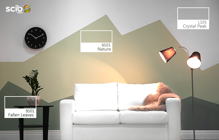 Living Room With A White Sofa In Front Of A 3 Colored Design Wall In Crystal Peak L105 Nature 9503 And Wall Paint Colors House Paint Exterior Wall Design