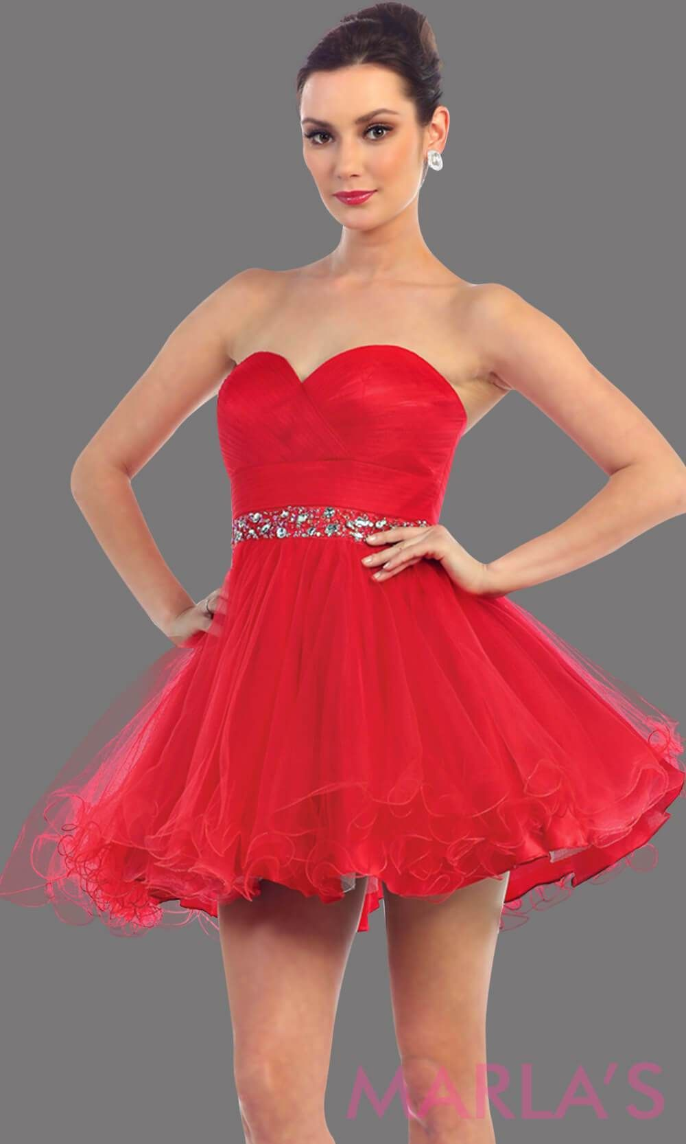 01d14cf7e3a9 Short strapless puffy red dress with rhinestone belt. It has a corset back.  This