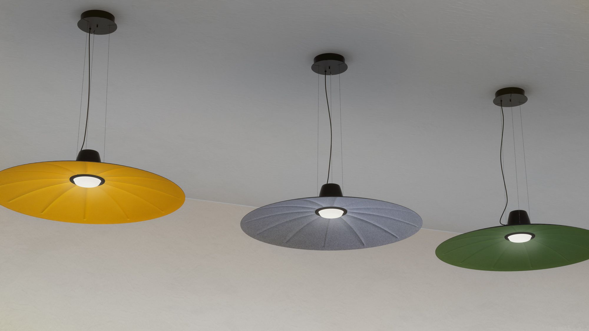 Hanging Lamp With An Acoustic Comfort Through An Aluminium