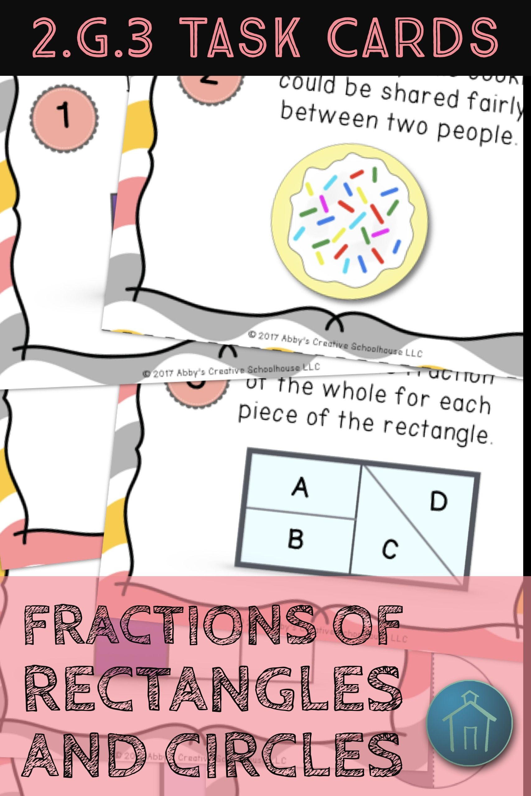 2 G 3 Task Cards Fractions Of Circles And Rectangles