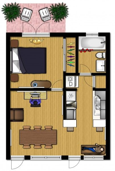 live work apartment 9 404x600 Small Apartment Design for Live/Work: 3D Floor  Plan