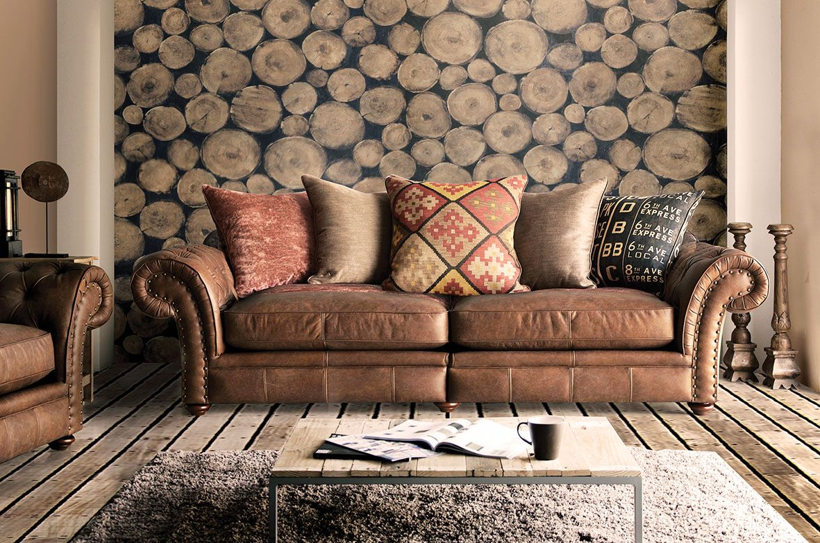 Lexington 4 Seat Sofa Blend Of Fabric Leather With Unique Scatter Cushions Annie Mos Love