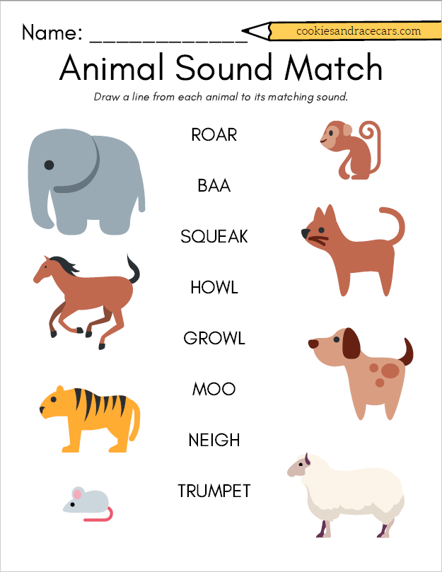 Animal Sound Match Worksheet For Prek Make The Animal Sounds As You Trace From The Word To The Corr Animal Worksheets Animal Sounds Animal Activities For Kids