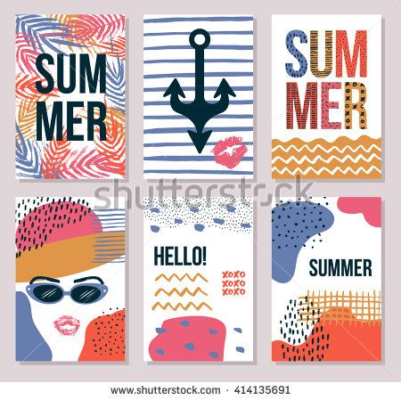 Stationary collection of vector summer card templates for your design. Hand drawn artistic background with dots, splotches and lines for print and web projects. Modern creative paper design. - stock vector