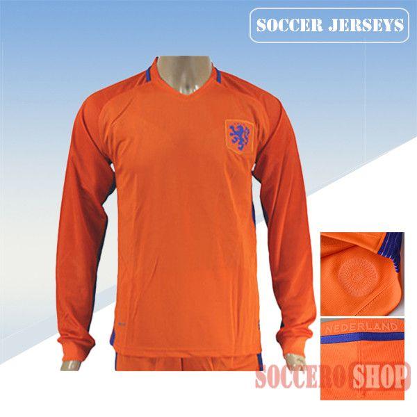 the latest bb57d 87705 Latest Best Holland Orange 2016 2017 Home Long Sleeve Soccer ...