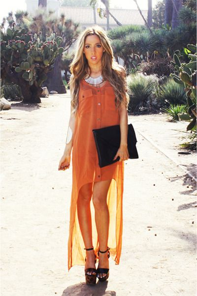 Burnt Orange Haute Rebellious Dress Black