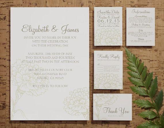 Custom Modern Ivory Wedding Invitation Set/Suite by InvitationSnob