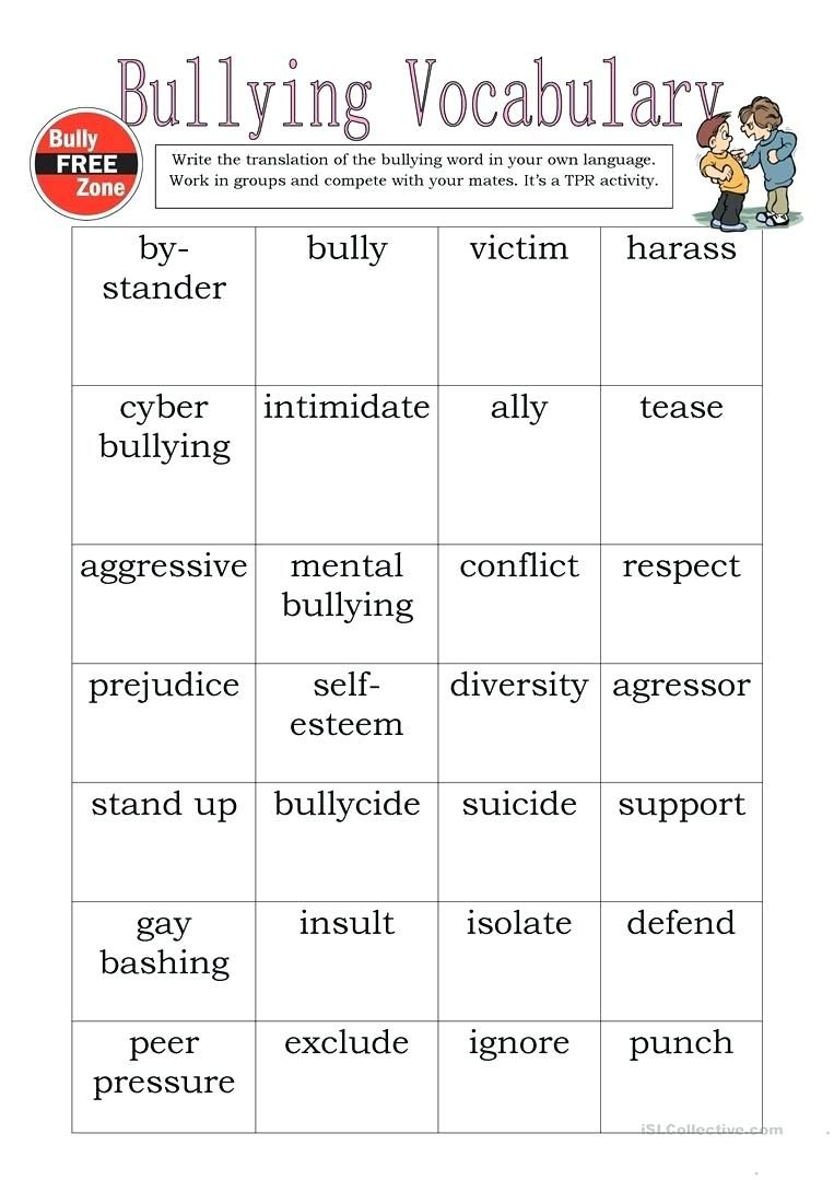 small resolution of Bully Worksheets Bullying Vocabulary Full Screen Prevention Lesson Plans