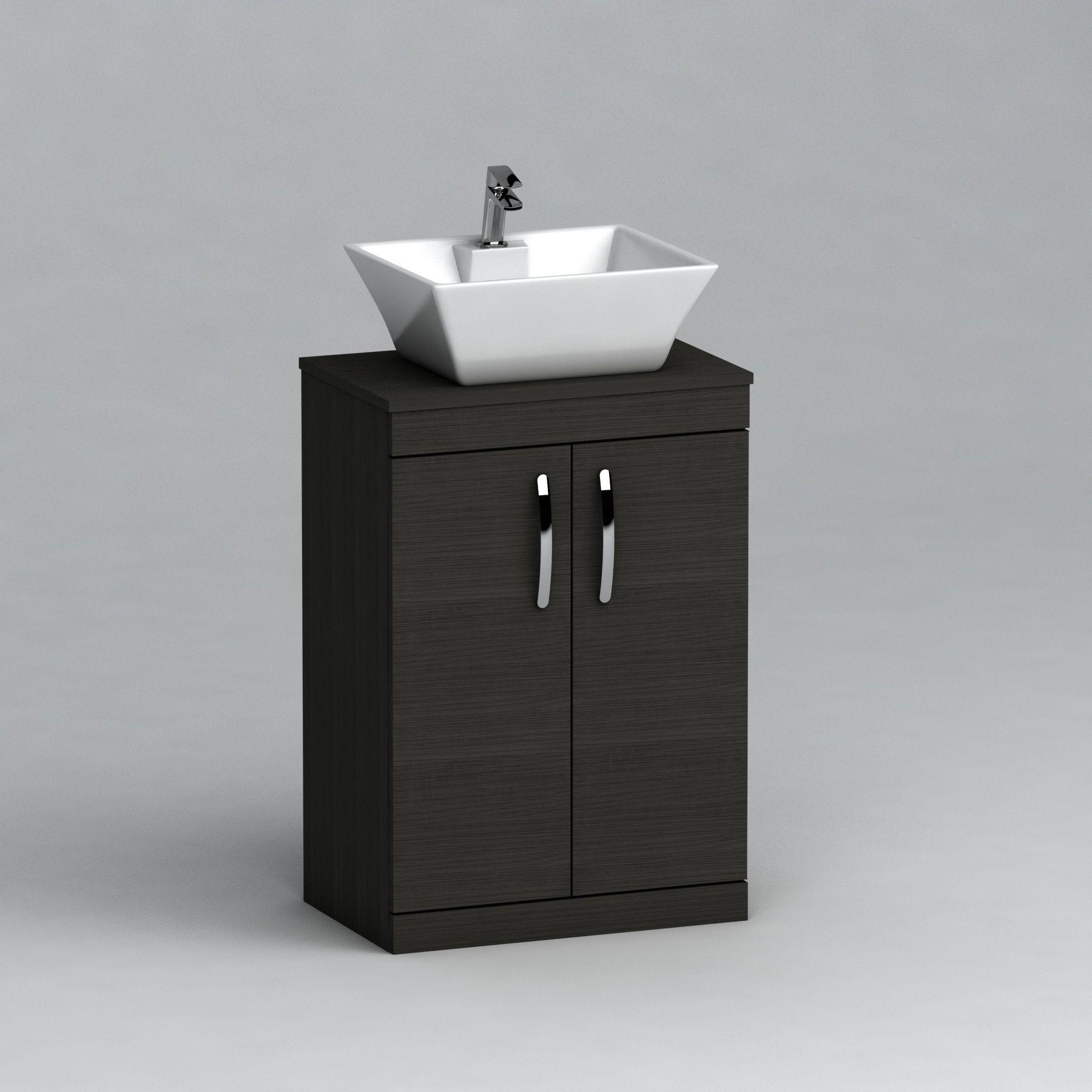 500mm Floor Standing Vanity Unit 2 Door Hale Black Countertop