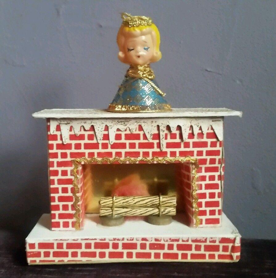 Vintage Christmas Angel Cardboard Fireplace  Figurine CUTE!