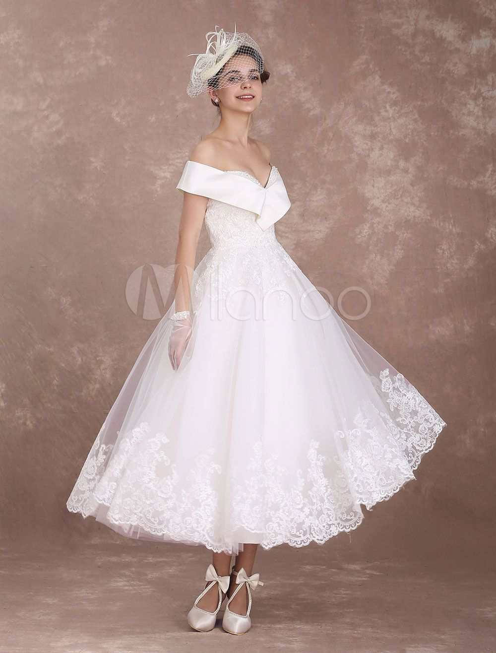 Off the shoulder tea length wedding dress  Vintage Wedding Dresses Off The Shoulder Short Bridal Dress us