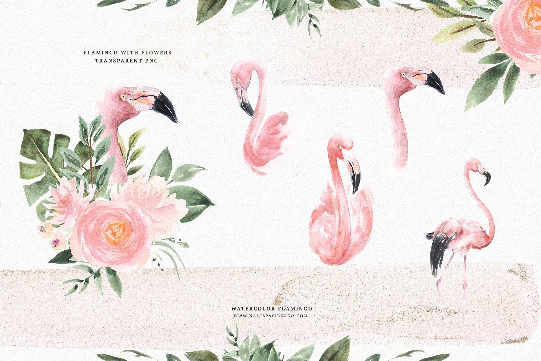 Watercolor Flamingo Flowers Watercolor Illustration Flamingo Flower Flamingo
