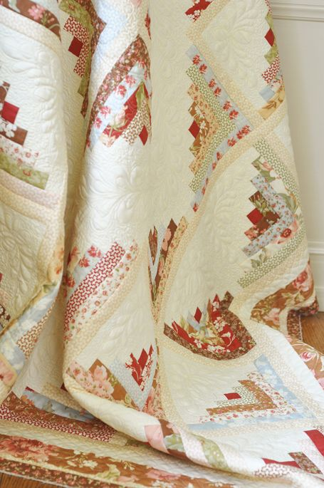 Fig Tree Quilts version of a Log Cabin  Love this soft, old