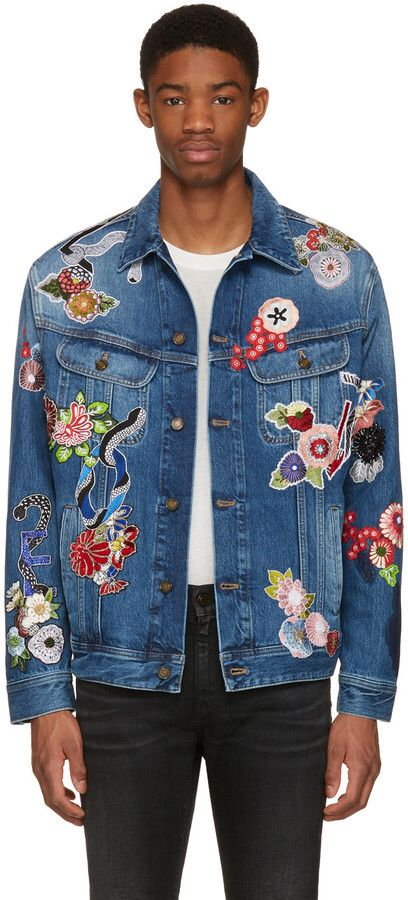 Saint Laurent Blue Denim Love Patch Jacket