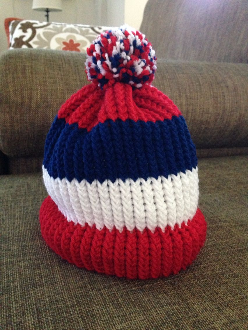Knitting Loom Hat : Loom knit red white and blue hat knitting pinterest patterns