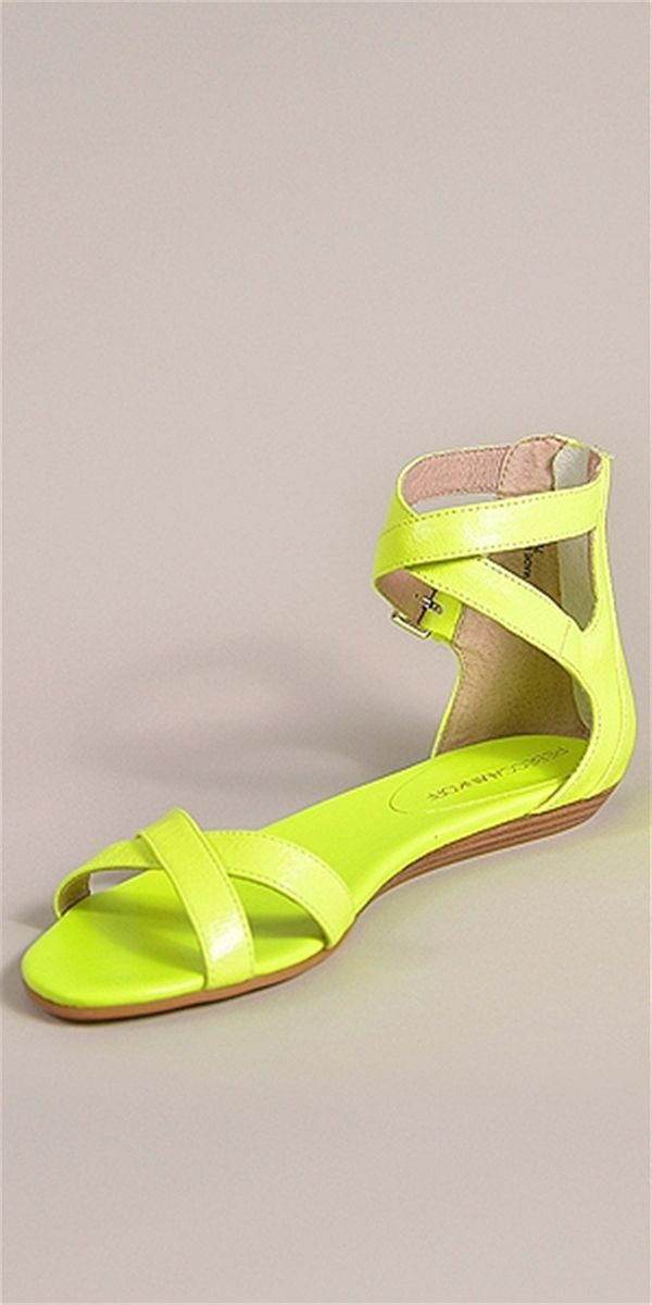 Rebecca Minkoff Bettina Flat Sandal: Neon shoes are amazing for spring, and celebrity stylist Nicole Chavez agrees! http://www.whowhatwear.com/website/ask-a-stylist/