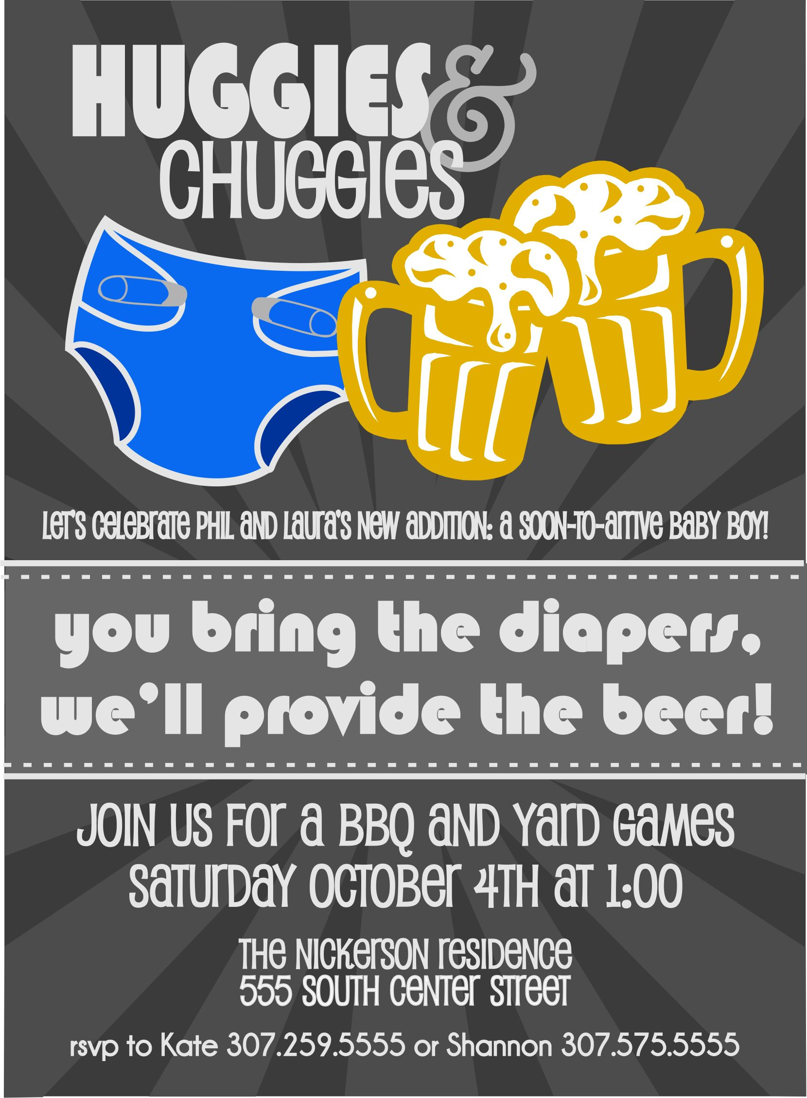 Huggies for Chuggies Diaper Party Invitation by ChevronDreams