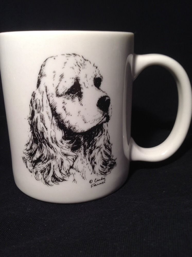 COCKER SPANIEL Cindy Farmer COFFEE CUP MUG Collectible