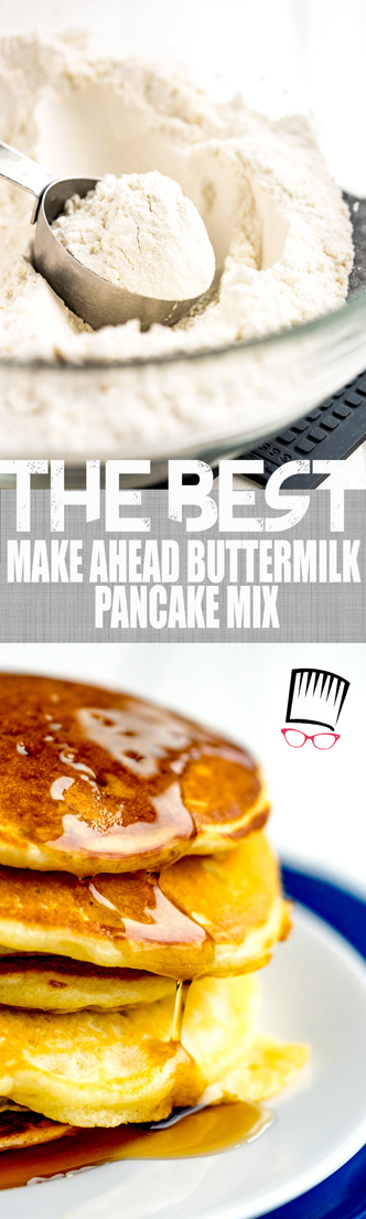 Itching for some fluffy and moist buttermilk pancakes but would just rather grab a box of premade pancake mix because it's easier? This Make ahead buttermilk pancake mix recipe is just what you need! Make up a batch and keep tucked away in your fridge until you're ready for some of the most scrumptious pancakes you'll ever eat.