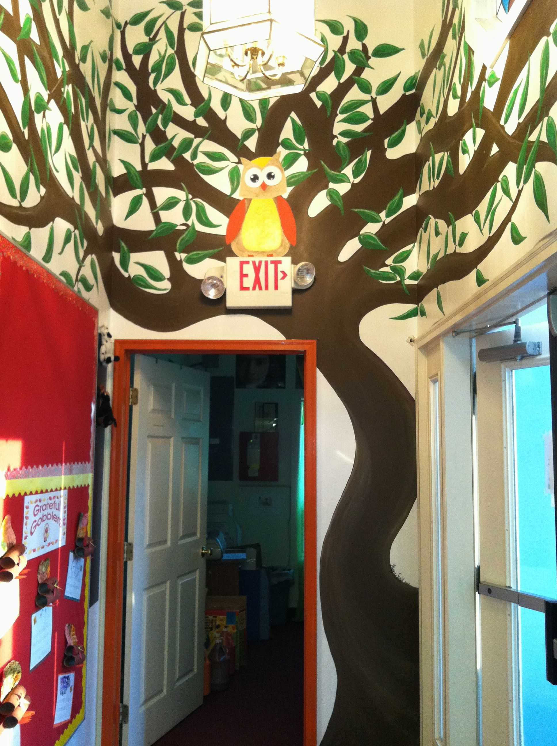 Custom Designed And Painted Wall Mural Of Owl In Tree For