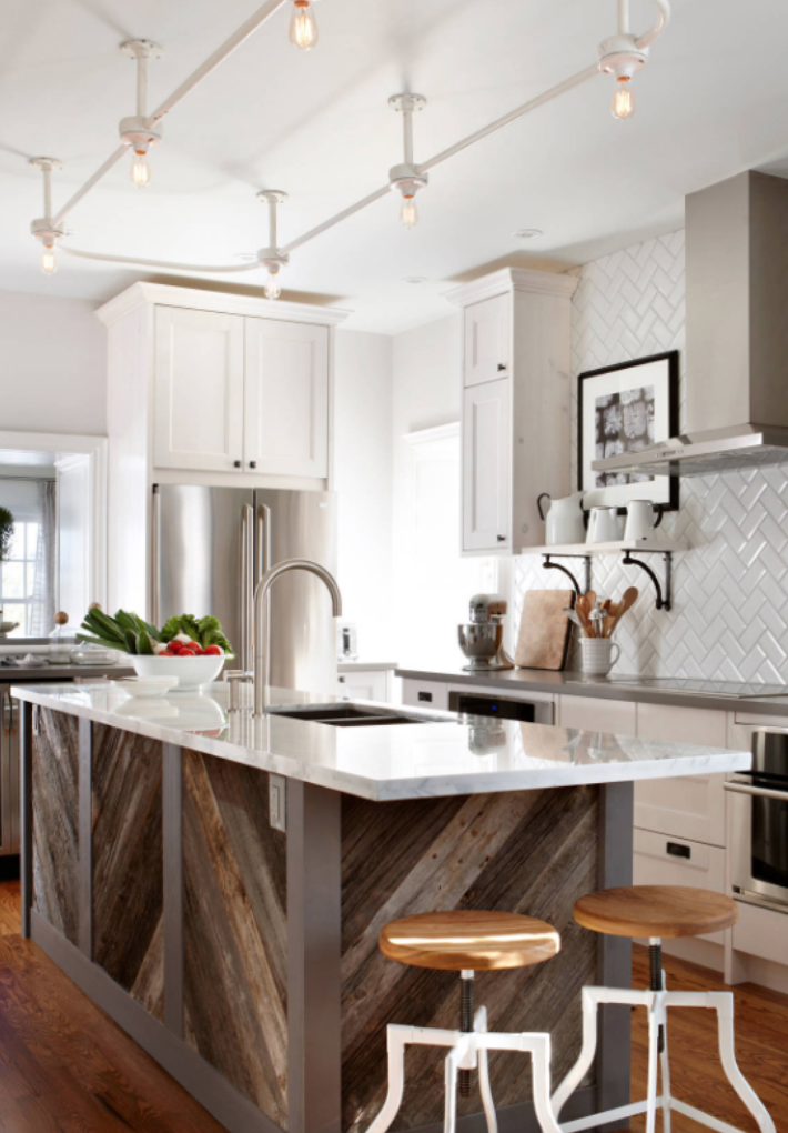 Forecast Gray Islands Are Taking Over White Kitchens And We Predict Sunny Feelings For Everyone Hunker Simple Kitchen Remodel Kitchen Design Kitchen Remodel Layout