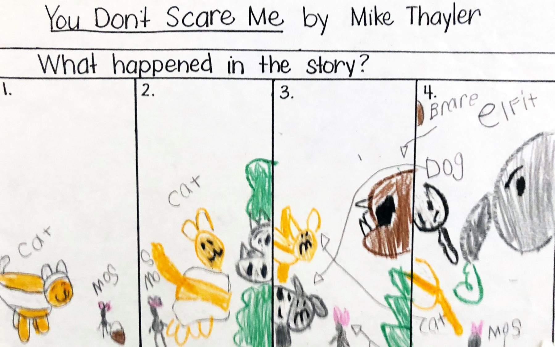 Ou Dont Scare Me Age 6 Crayon And Pencil On