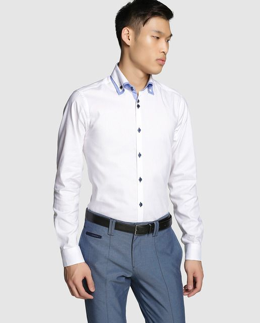Camisa de hombre slim lisa de vestir blanca  defb47252f6