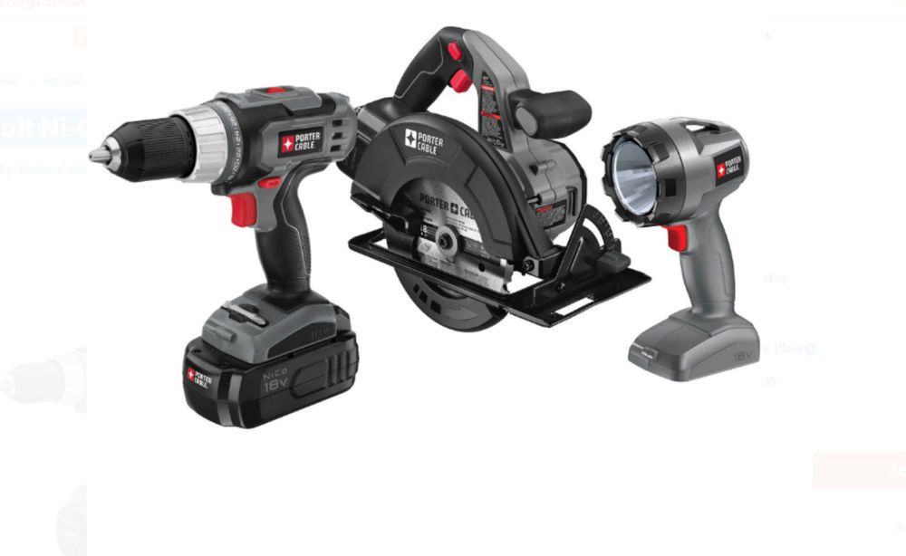 Power Tools Combo Kit Cordless Porter Cable 3 Tool Value Bundle Rechargeable 18v Porter Cable Porter Cable Tools Combo Kit