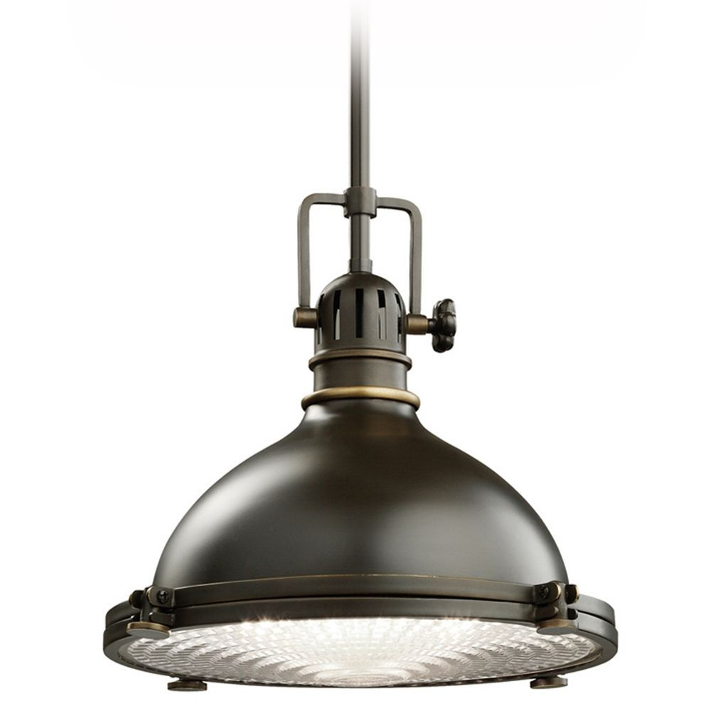 kichler hatteras bay single light wide pendant with metal shade and fresnel lens olde bronze primary image
