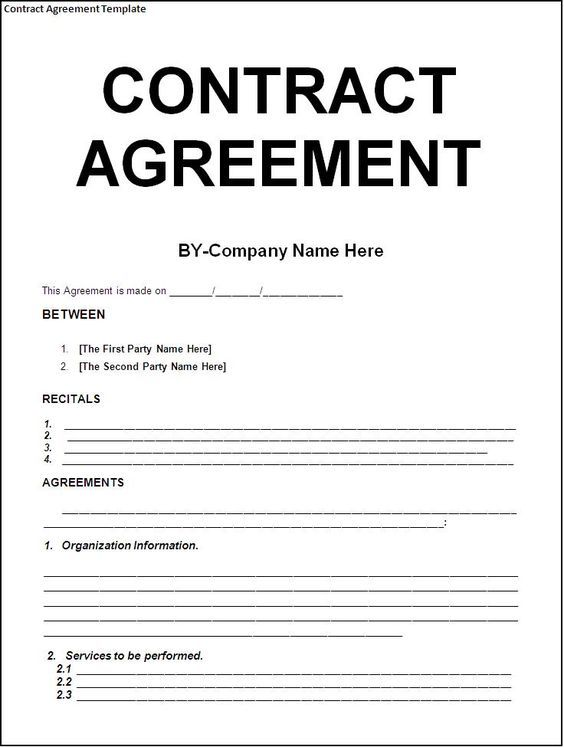 Contract Sample Business Contract Sample Contract Agreement Contractor Contract Construction Contract