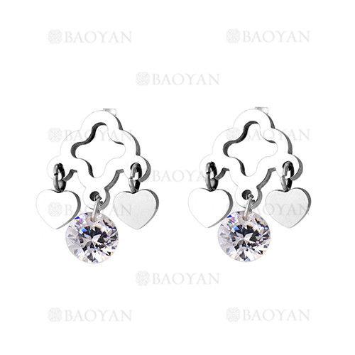 aretes de corazon con dije cristal de plateado en acero-SSEGG804712