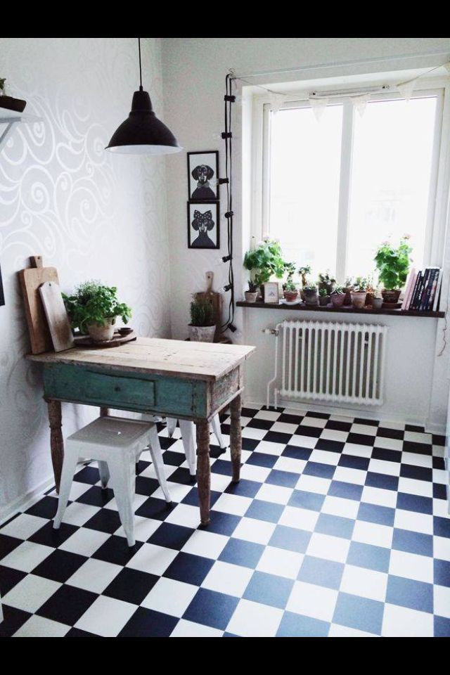 Cuisine, carrelage noir et blanc home Pinterest Kitchens