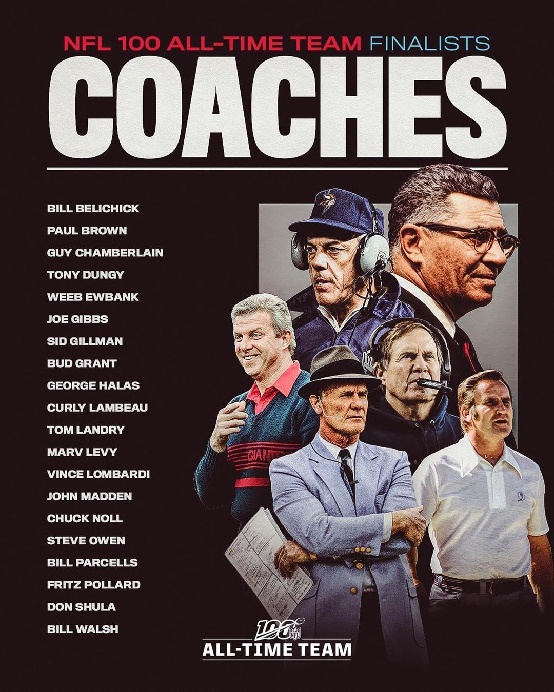 Nfl The 20 Coaching Finalists For The Nfl100 All Time Team Which 10 Coaches Will Big4 Bigfour Big4 Coaching Nfl Football Teams Nfl History
