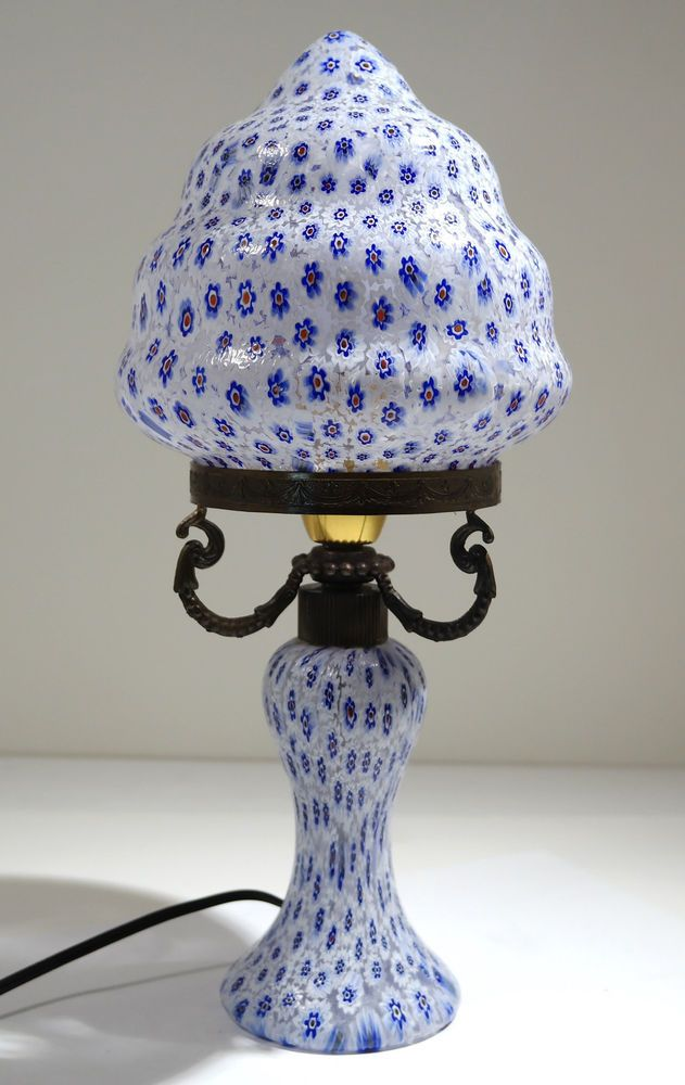 Italian Murano Venetian Glass Blue White Millefiori Lamp Mid 20th Century Lamparas
