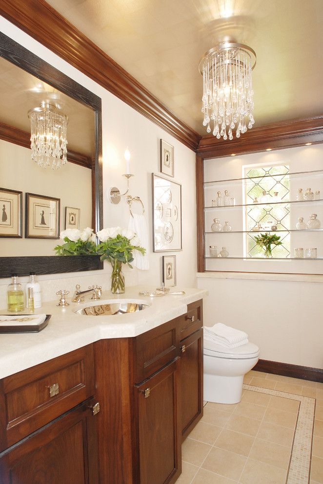 Image By Annette English Powder Room Design Wood Crown Molding Home Decor