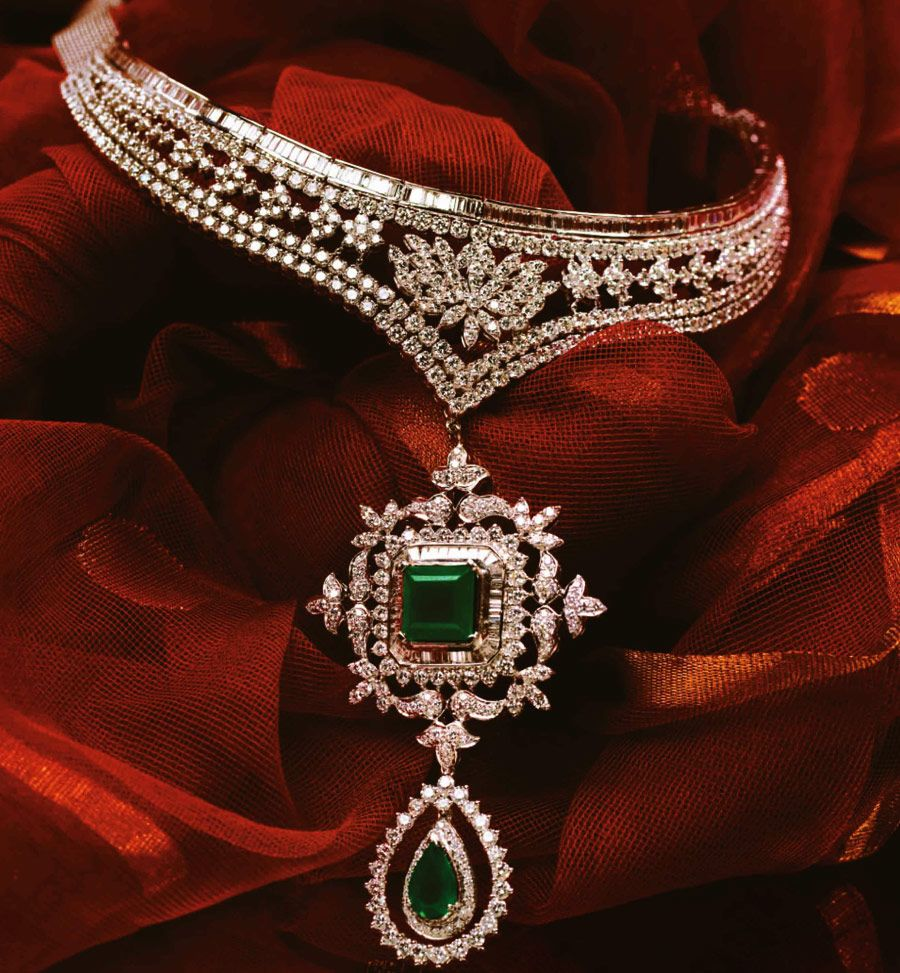 Tanishq the indian wedding jeweller princess cut lotus and emeralds