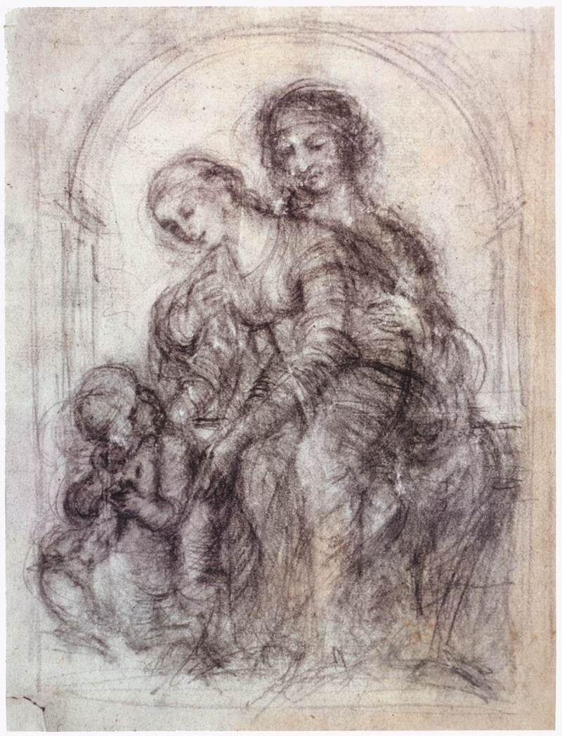 Leonardo da Vinci, 1452-1519, Italian, Design for St Anne, c.1501. Slate pencil on prepared paper, 21.8 x 16.4 cm. Private collection. High Renaissance.