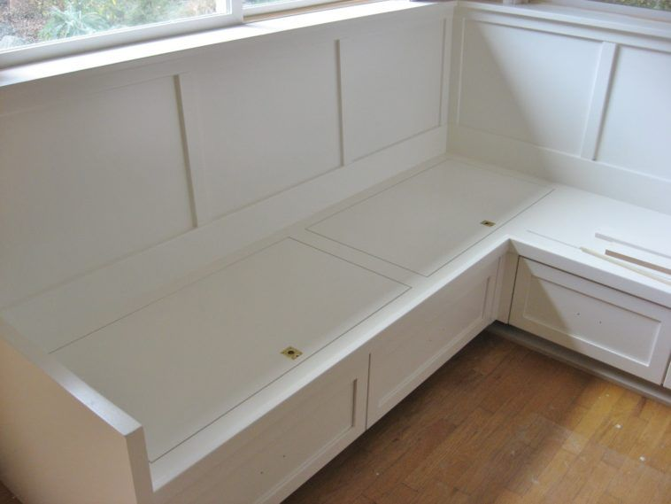 Diy White Wood Breakfast Nook Furniture Bench With Hidden Storage