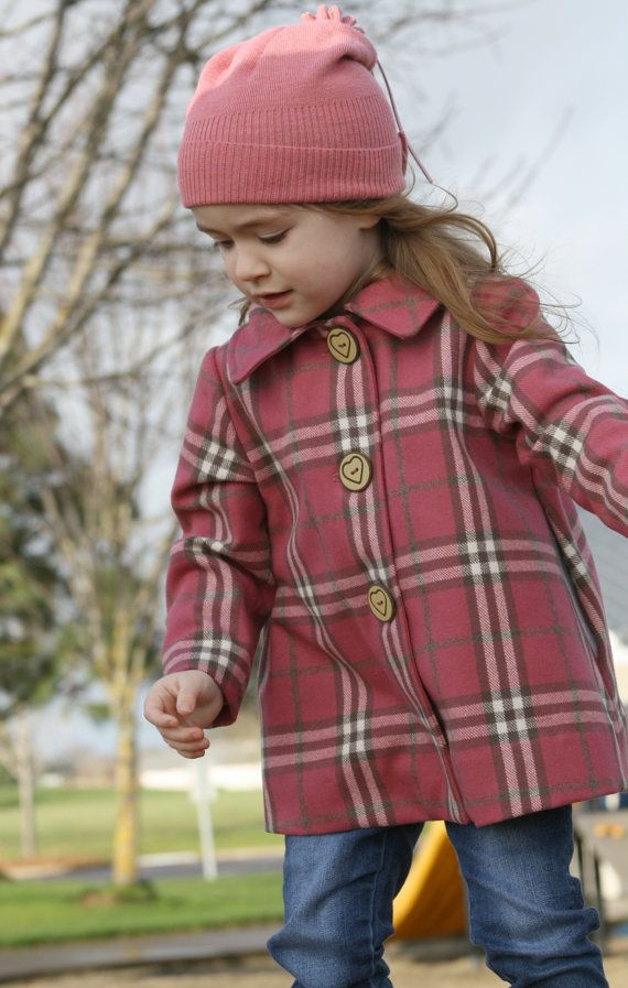 online shop a few days away modern style Girls Classic Wool Pea Coat in Rose Pink// Brown//Off-White ...