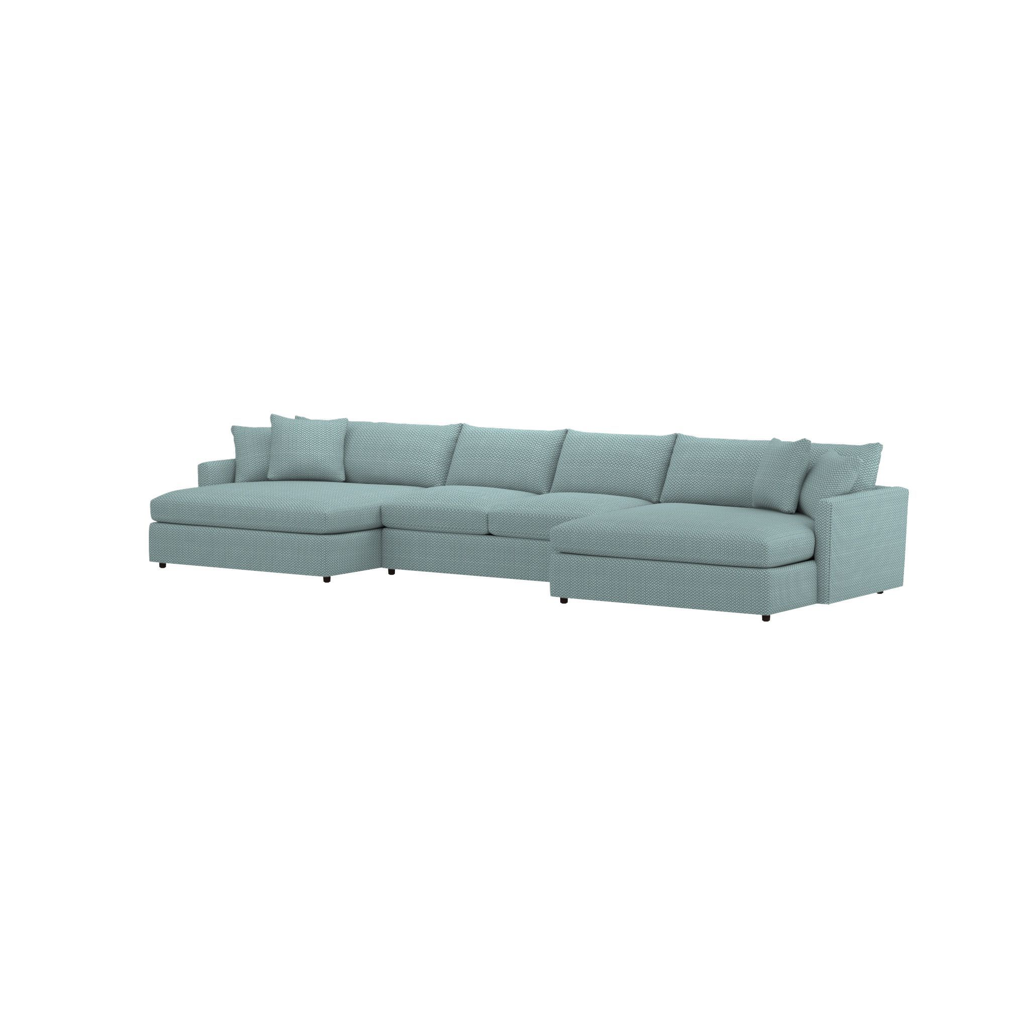 Shop lounge ii petite 3 piece double chaise sectional sofa consisting of two double chaises and an armless sofa the sectional is upholstered in a soft