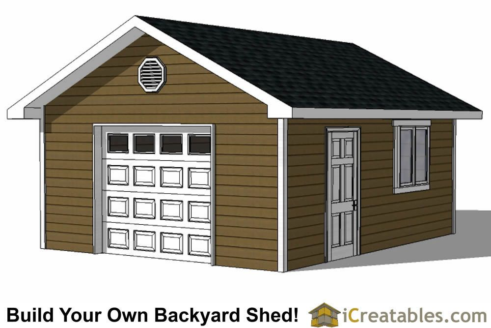 16x20 Shed With Garage Door Shed Plans Garage Doors Large Sheds