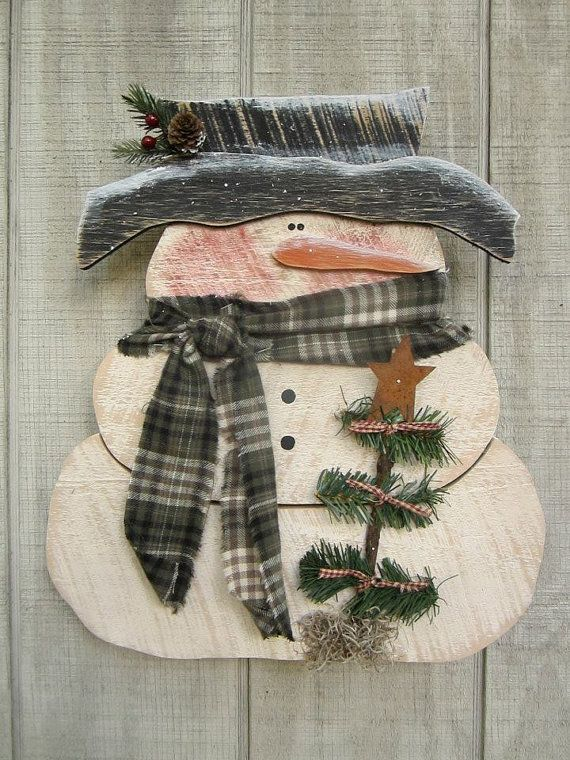 Primitive Snowman Country Primitive Wood Snowman