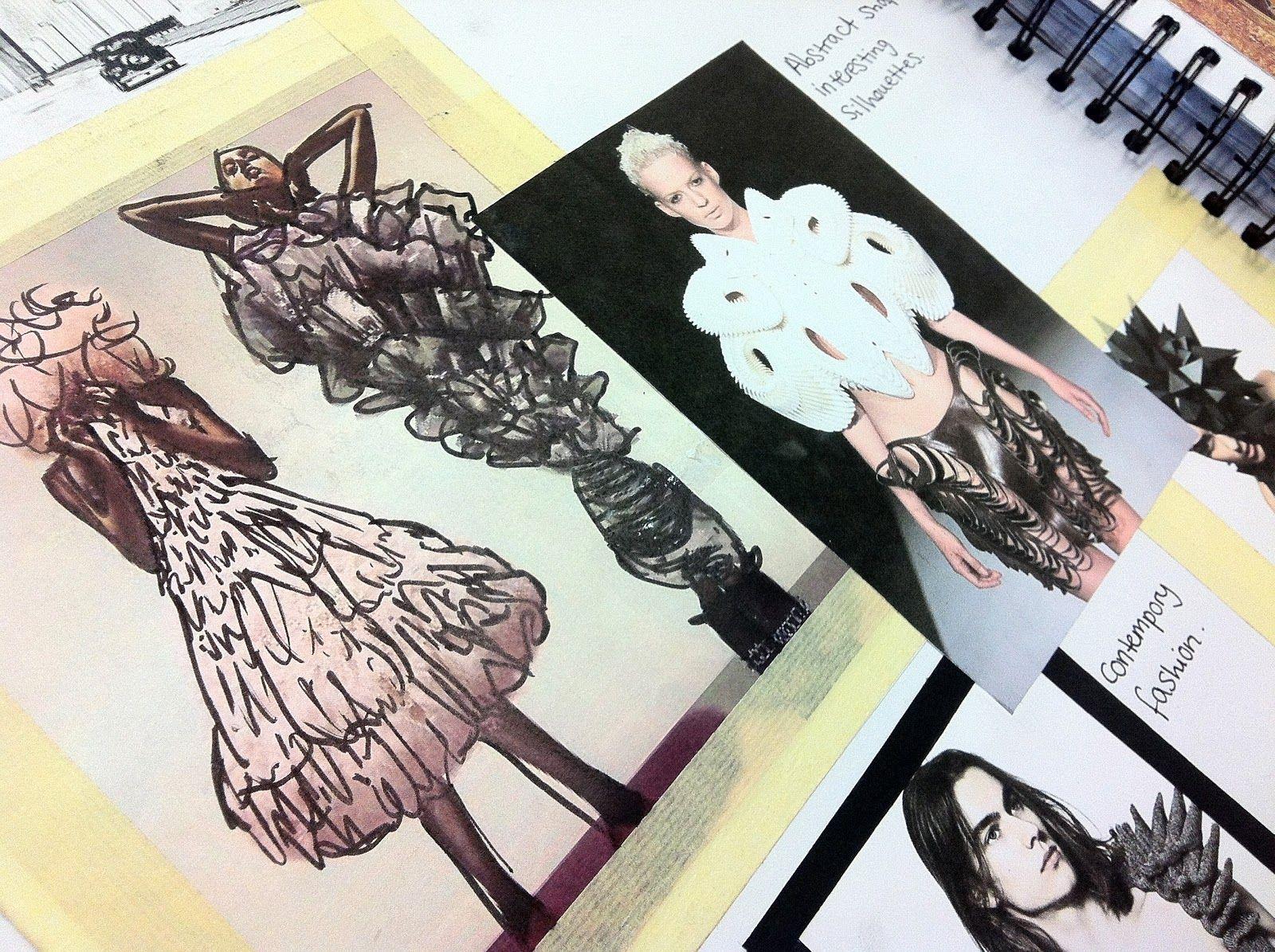 Fashion Sketchbook structural & abstract fashion design development (littlevioletribbon.blogspot.co.uk)