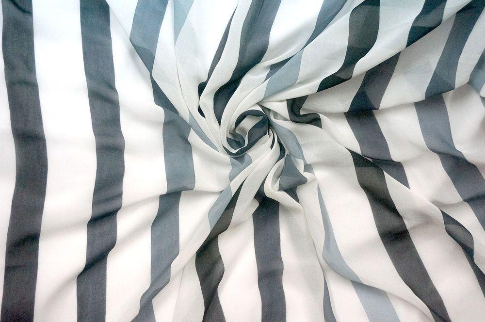 "WHITE BLACK GRAY STRIPES SHEER CHIFFON FABRIC 60""W Dress Lining Decor Scarf"