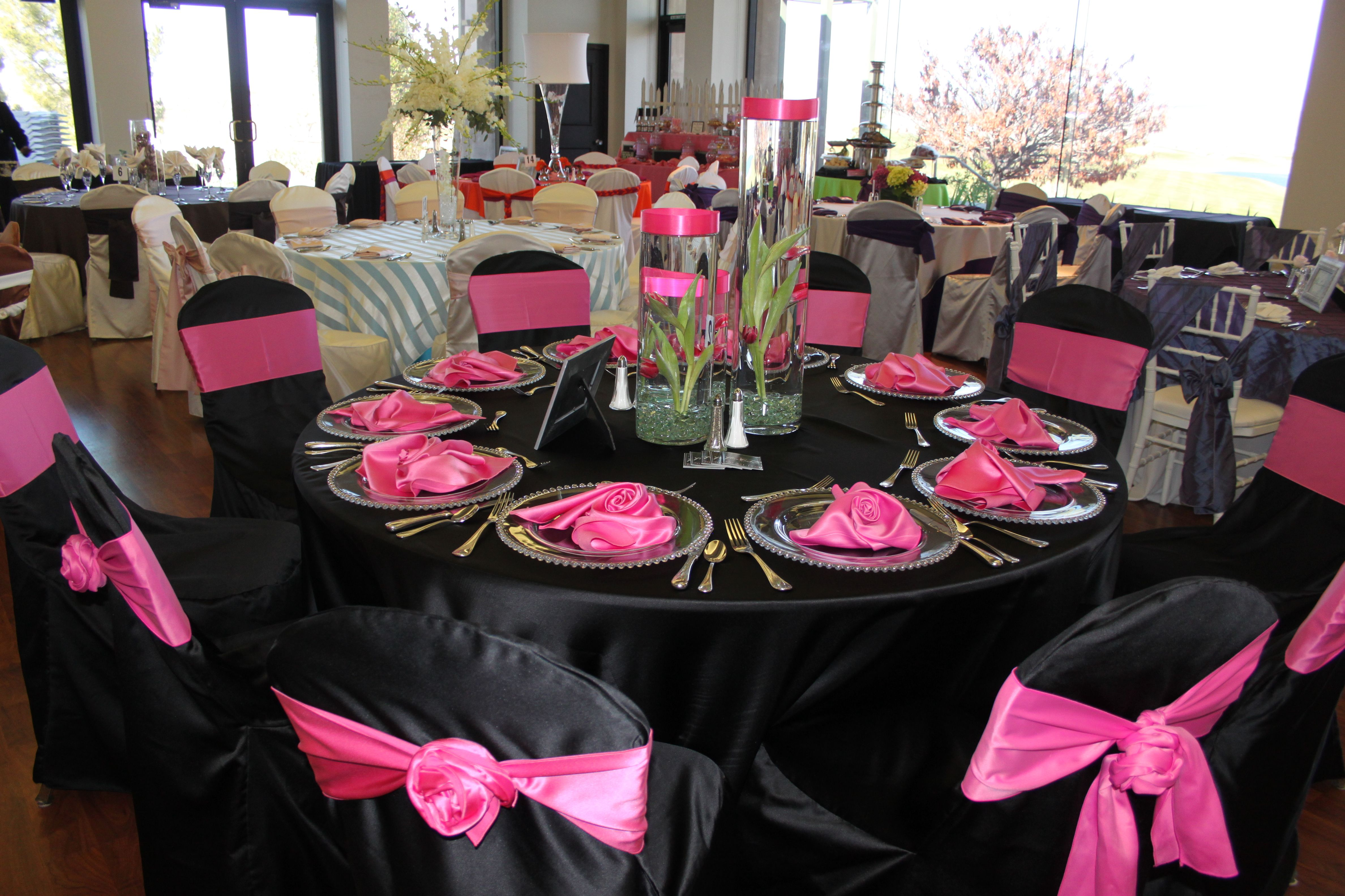 Pink Table Setup For Parties - Pink & Black Table