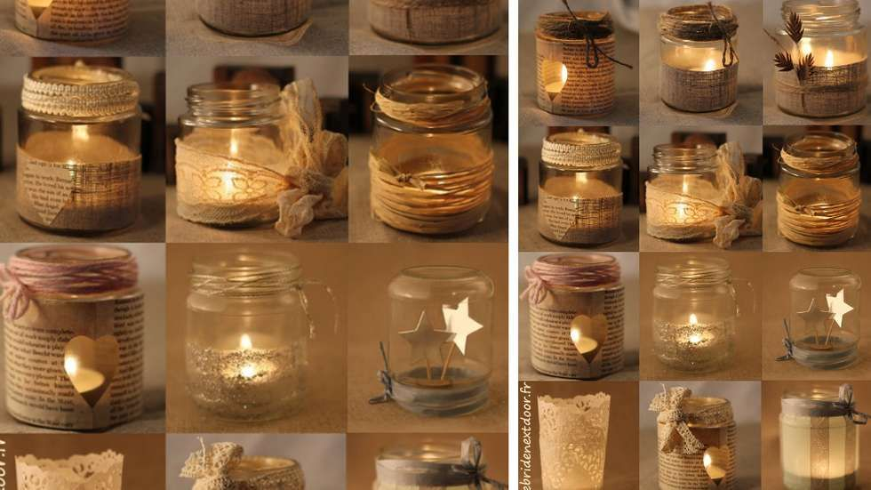 photophore papier journal pots verre diy pinterest photophore pots et diy mariage. Black Bedroom Furniture Sets. Home Design Ideas