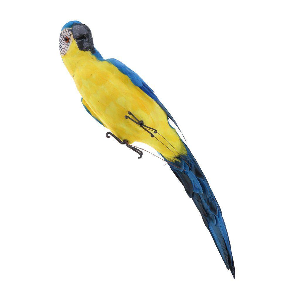 Lying Parrot Statue Resin Bird Ornament Realistic Animal Decor 29cm Yellow