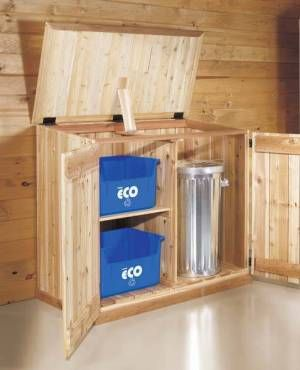 Cedar garbage can and recycling bins container plan for Diy dustbin ideas