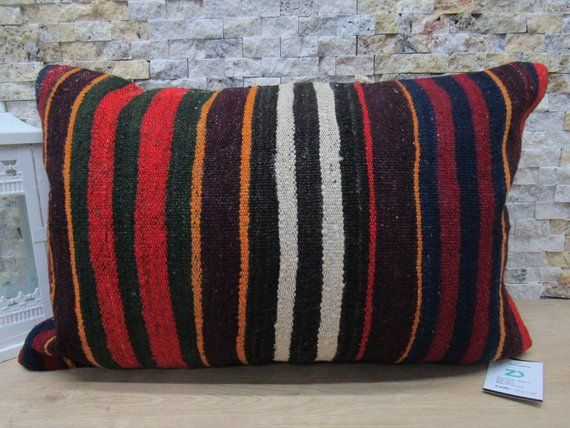 Unique old kilim cushion pillow 16x24 decorative bohemian pillow home decor sofa pillow turkish pillow handmade nomadic pillow code 125  unique old kilim cushion pillow 1...