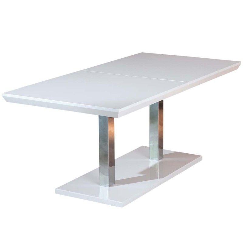 table extensible laque blanc et pieds